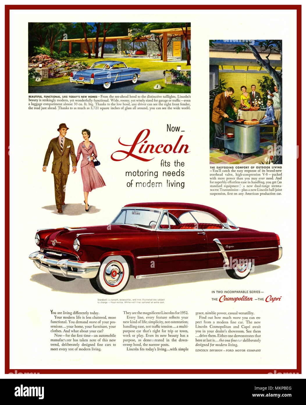 1952 American Lincoln Motor Car Press Advertisement For Luxury