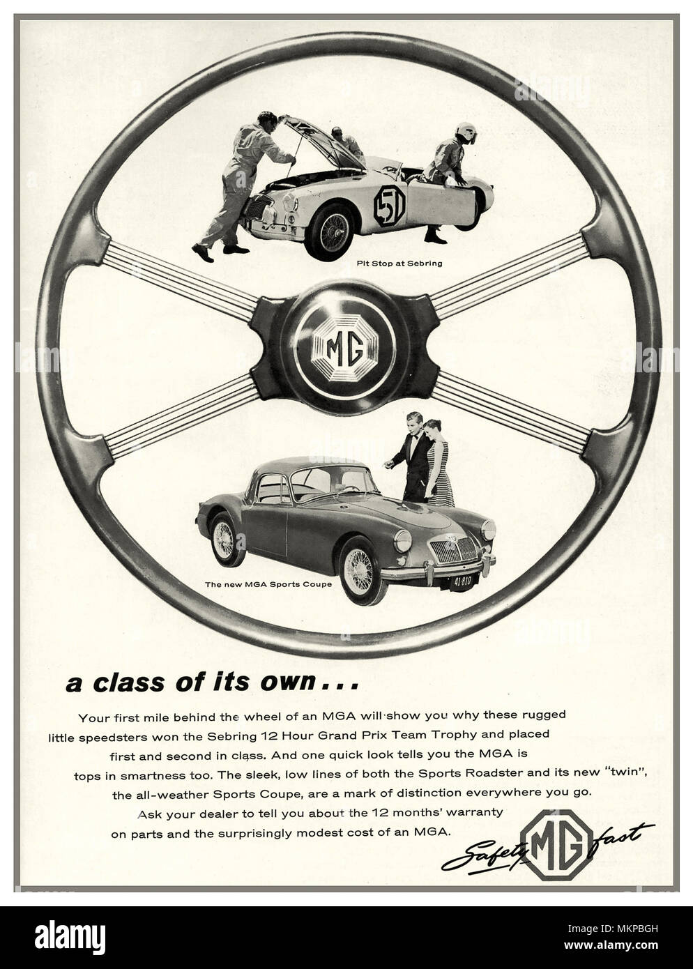 MGA Sports Car Vintage 1950's Press Advertisement for The MGA  a sports car that was produced by MG in the UK from 1955 to 1962 Announced on 26 September 1955 the car was officially launched at the Frankfurt Motor Show. - Stock Image