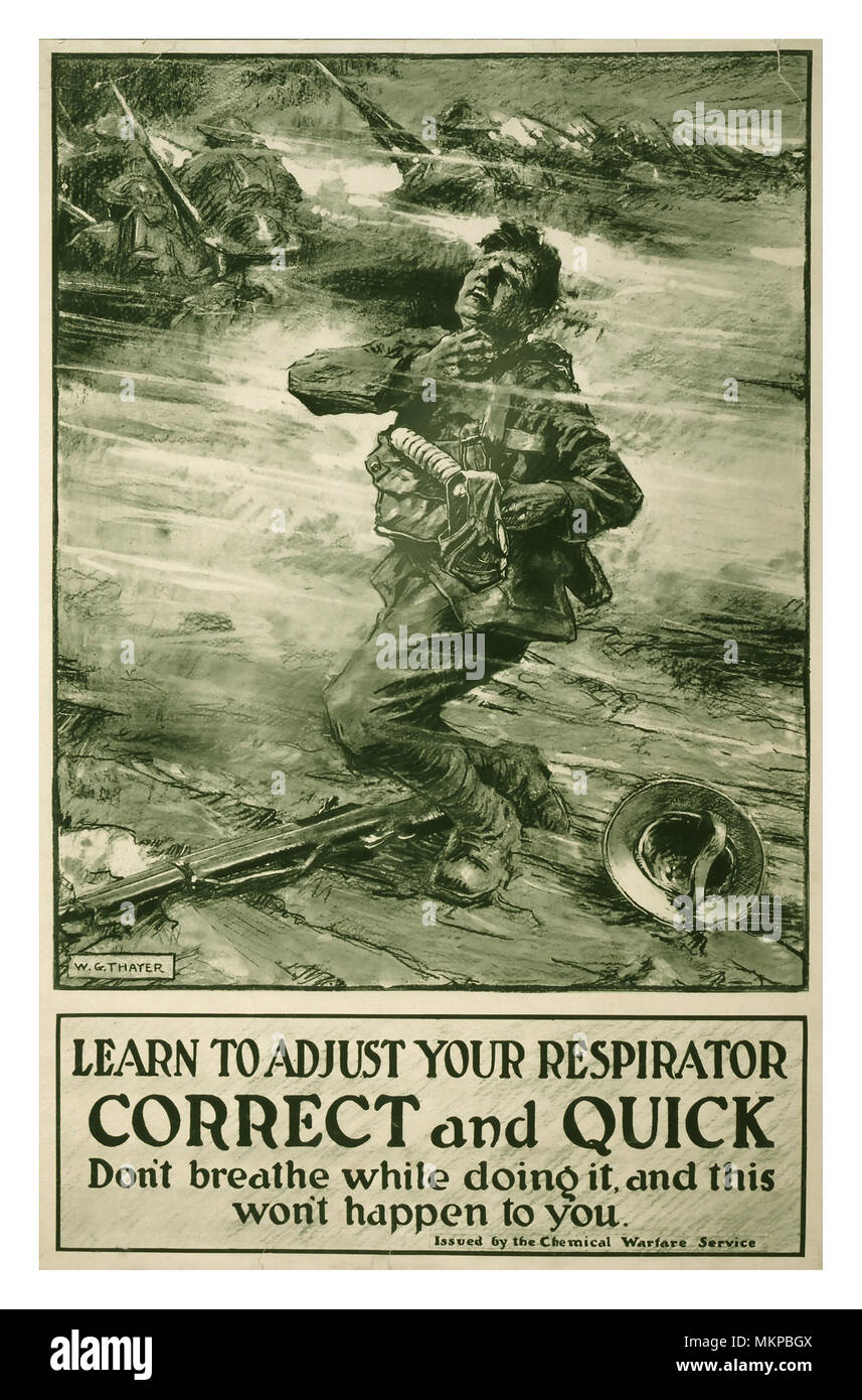 WW1 Vintage Poster USA American Troops Information advice and caution in adjusting a respirator for an enemy poison gas chemical attack - Stock Image