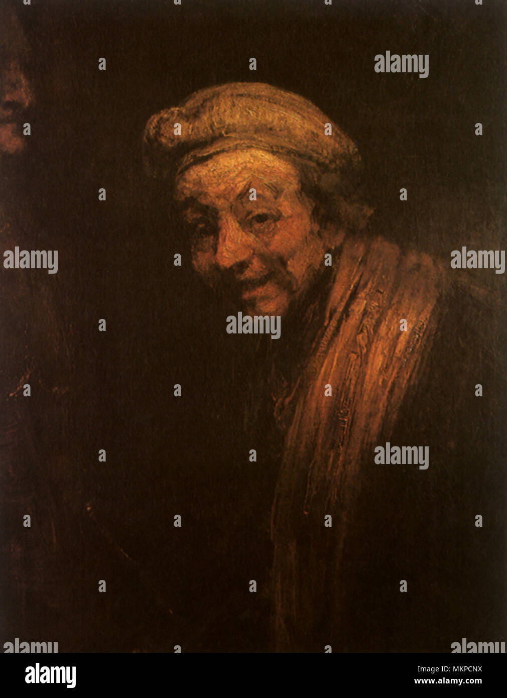 Self-portrait of Rembrandt as Democritus - Stock Image