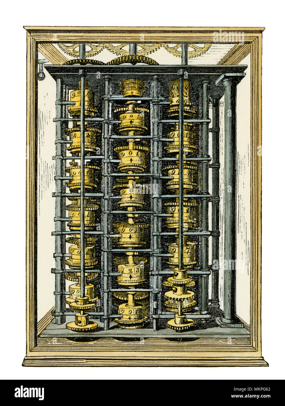 Charles Babbage's calculating machine, the 'difference engine,' 1800s. Hand-colored woodcut of an illustration - Stock Image