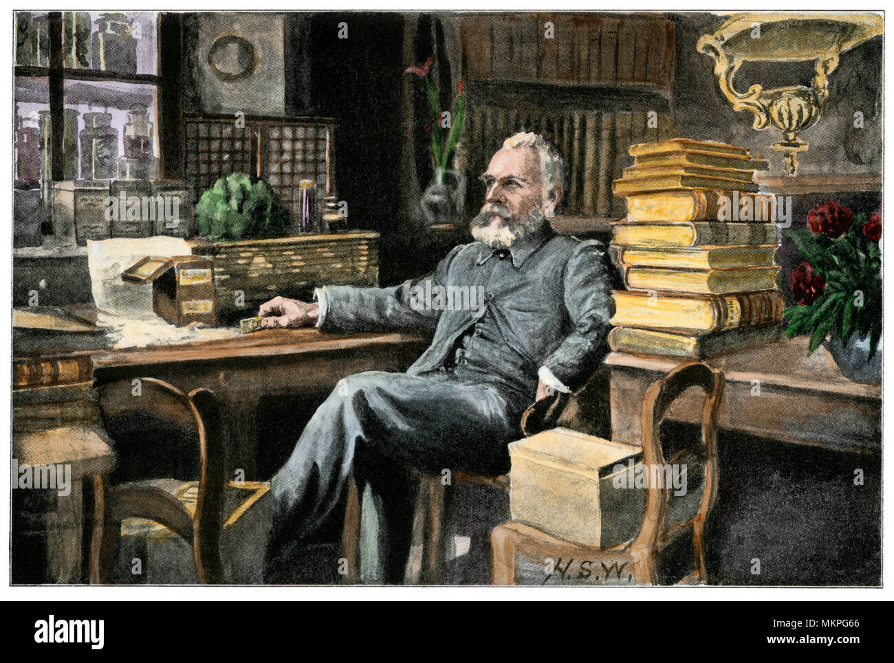 Professor Ernest Haeckel in his study, Jena University, Germany. Hand-colored halftone - Stock Image