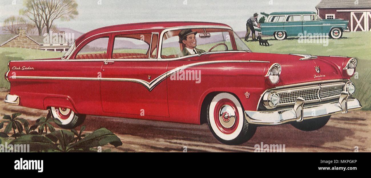 1955 ford fairlane club sedan stock image