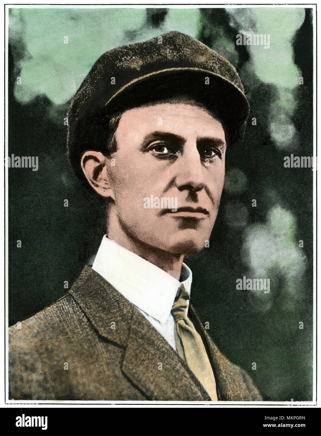 Wilbur Wright. Hand-colored halftone of a photograph - Stock Image