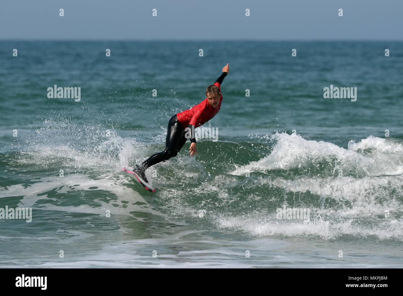 Welsh National surfing championships 2018 Freshwater West, Pembroke - Stock Image