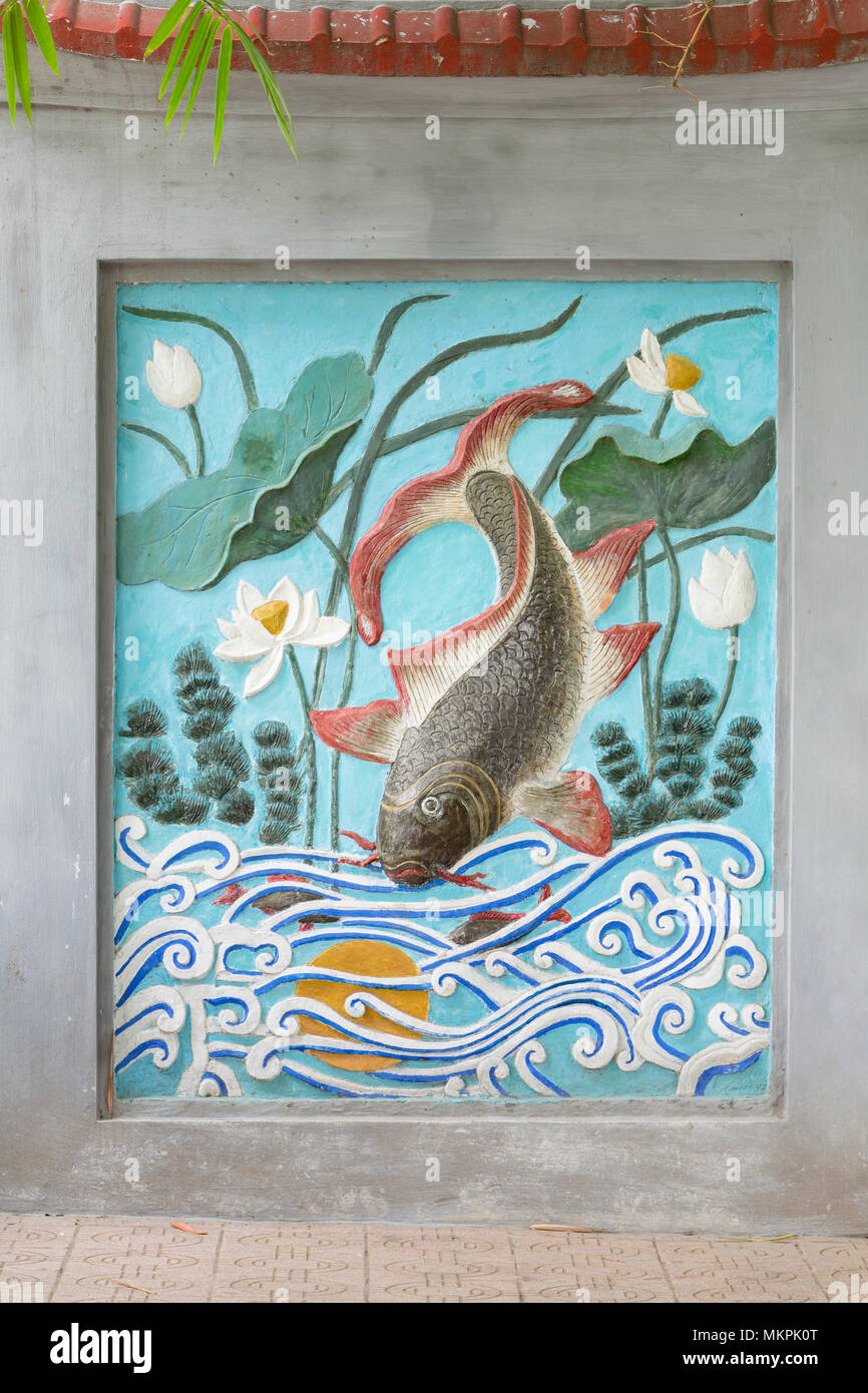 Mural at the entrance of Ngoc Son temple, Hanoi, Vietnam - Stock Image