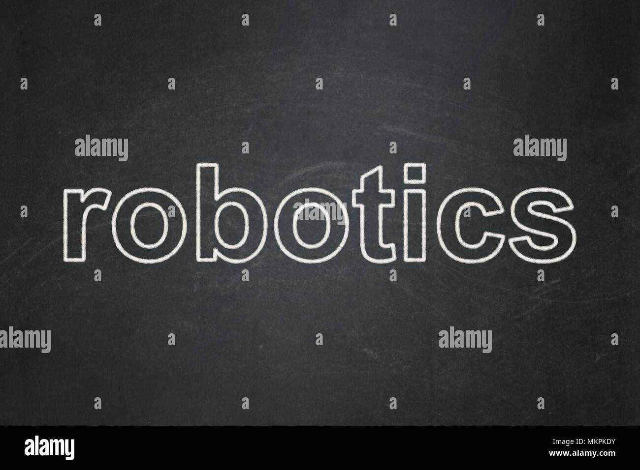 Science Concept Text Robotics On Black Chalkboard Background Stock