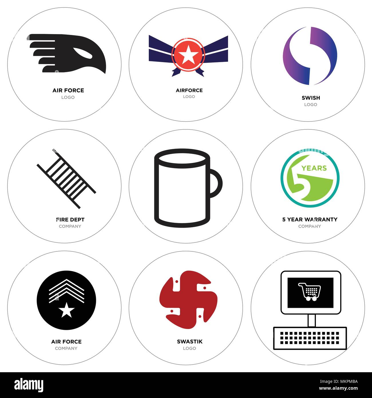 5df6bde3 Set Of 9 simple editable icons such as On, swastik, air force, 5 year  warranty, Cup, fire dept, Gradient Purple swish, Airforce, can be used for  mobil