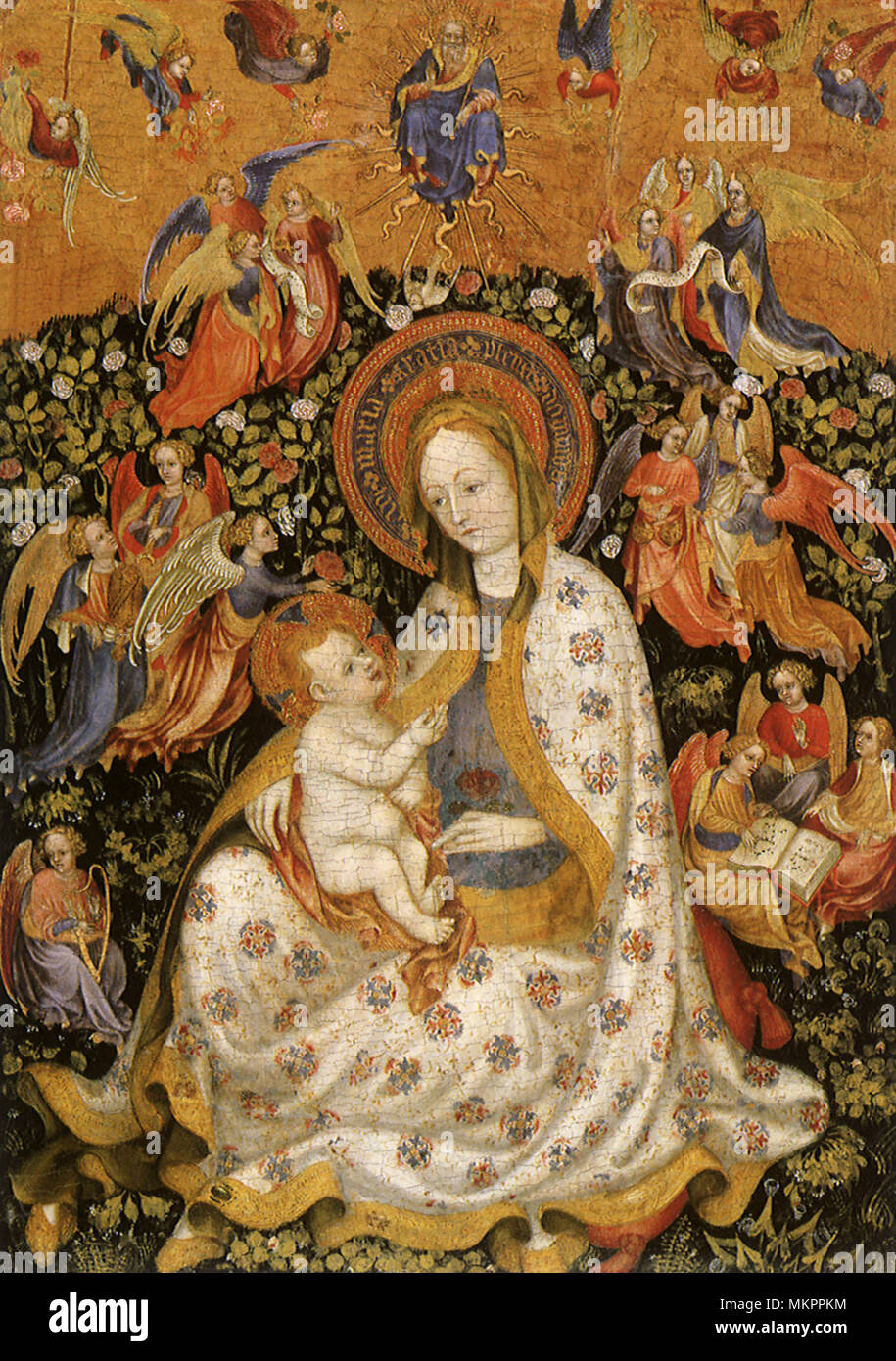 The Virgin and Child with Angels in a Garden Stock Photo: 184282888 ...