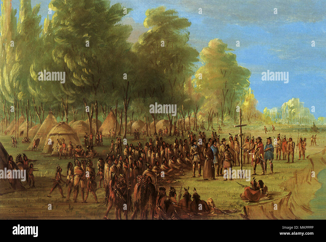 LaSalle Erecting a Cross and Taking Possession of Land 1840 - Stock Image