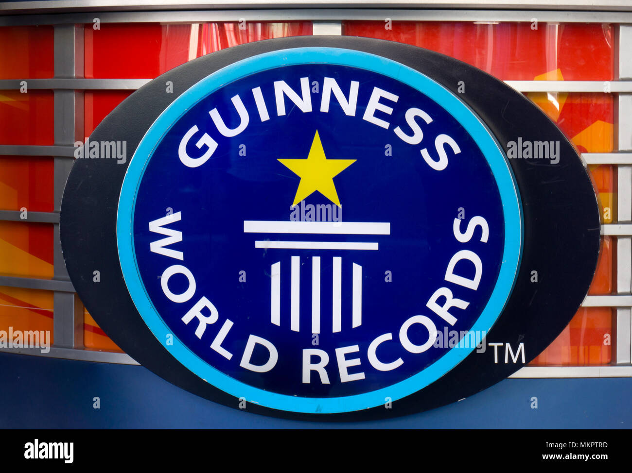 HOLLYWOOD, CA/USA - APRIL 18, 2015: Guinness Museum logo and marquee. The Guinness Museum is an attraction on the Hollywood Walk of Fame. - Stock Image
