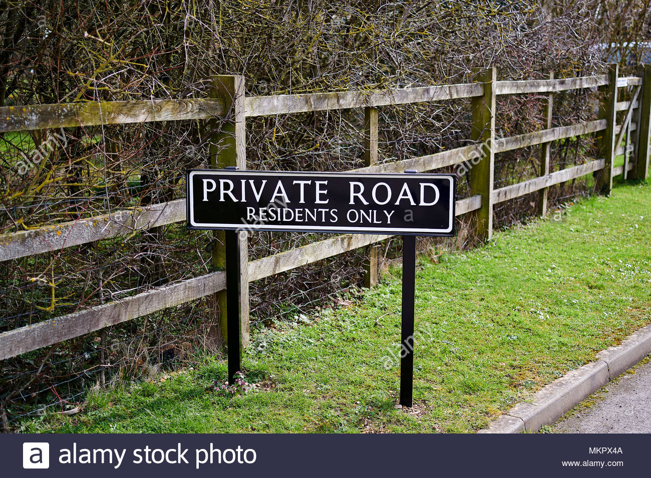 Private Road in Oxfordshire in the Cotswolds Stock Photo