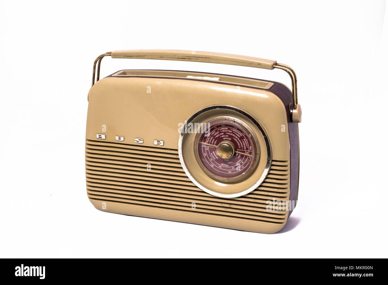 A nineteen sixties Bush portable transistor radio - Stock Image