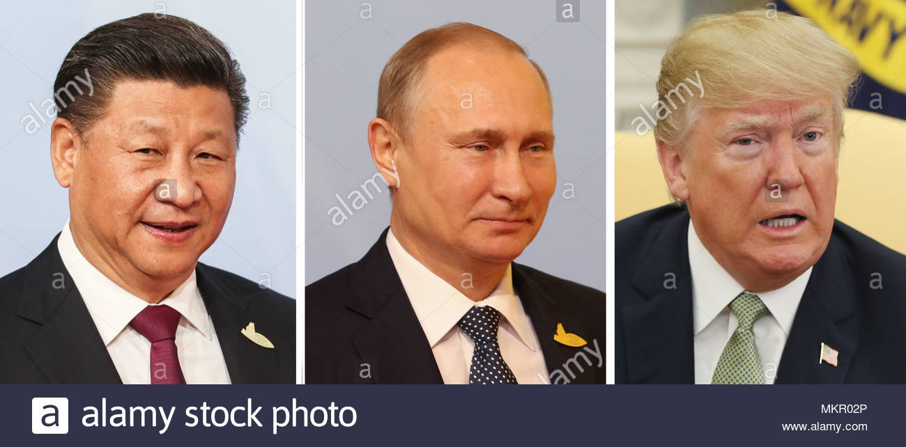 Undated file photos of (left to right) Chinese President Xi Jinping, Russia's Vladimir Putin and Donald Trump of the US who have topped the world's most powerful people annual list produced by business magazine Forbes. - Stock Image