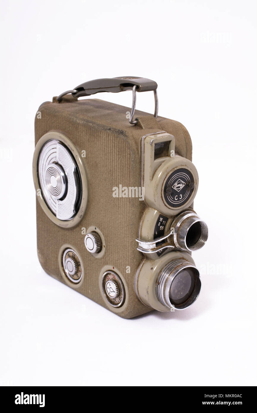 A vintage German-made Eumig 8mm wind-up movie camera, for the amateur home movie maker - Stock Image