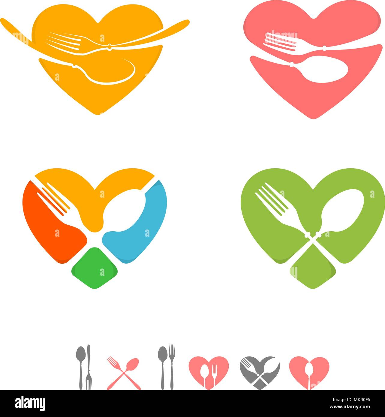 Set of vector logos for catering business restaurant emblems green set of vector logos for catering business restaurant emblems greenyellowpinkblueredgrey colors greeting card for chef table settings icons m4hsunfo