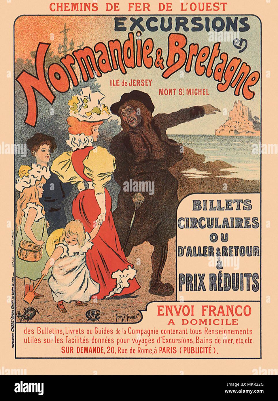 FRANCE VINTAGE TRAVEL POSTER Normandie et Bretagne NEW