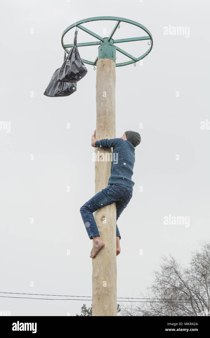 TIRASPOL, MOLDOVA-FEBRUARY 18, 2018: Boy climbing on a wooden pole for the prize. Slavonic folk pagan holiday Maslenitsa (Shrovetide) - a symbolic mee - Stock Image