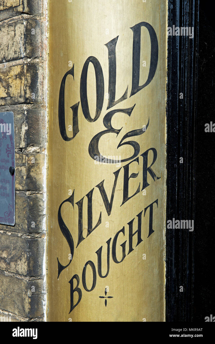 Shop sign: gold & silver bought, England UK - Stock Image