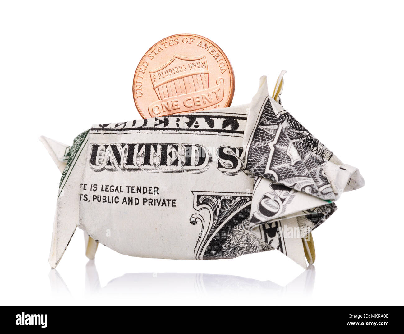 Reliable saving of money and strengthening of the country's economy. One cent in a piggy bank of an American dollar isolated on a white background - Stock Image