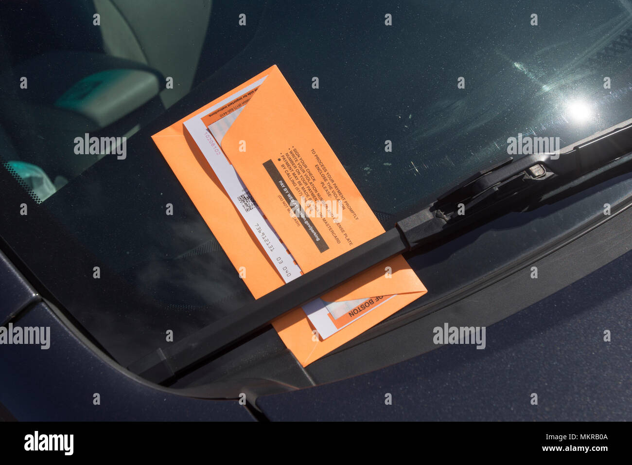 A parking ticket in the City of Boston, Massachusets, USA Stock