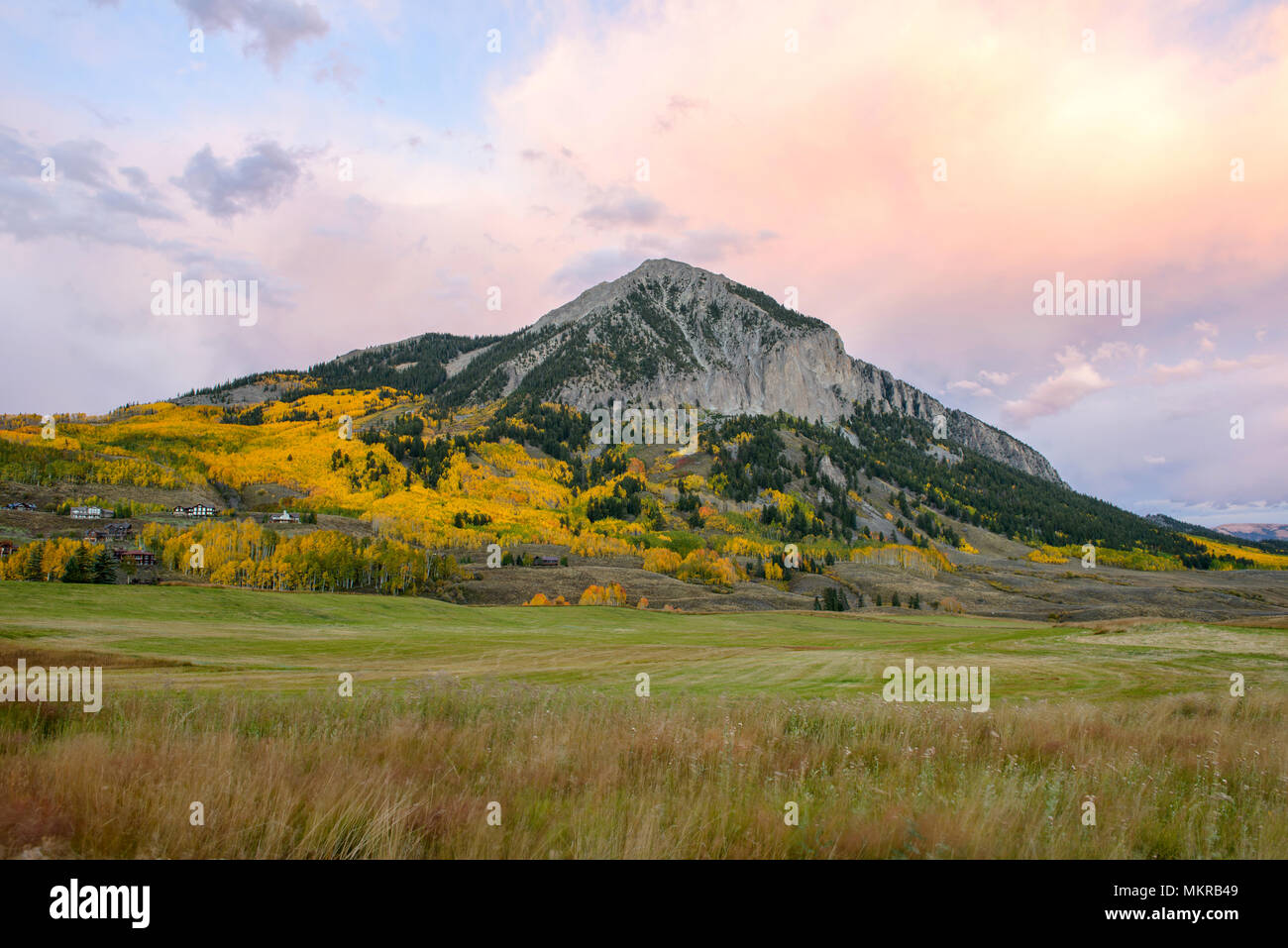 Sunset Crested Butte - Autumn Sunset view at Mount Crested Butte, Crested Butte, Colorado, USA. - Stock Image