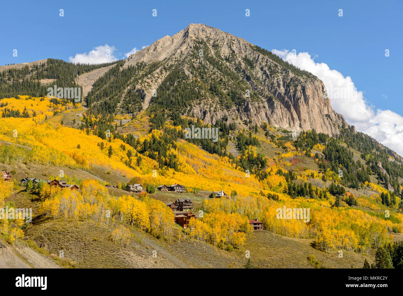 Autumn at Mount Crested Butte - Autumn view of Mount Crested Butte, Colorado, USA. - Stock Image