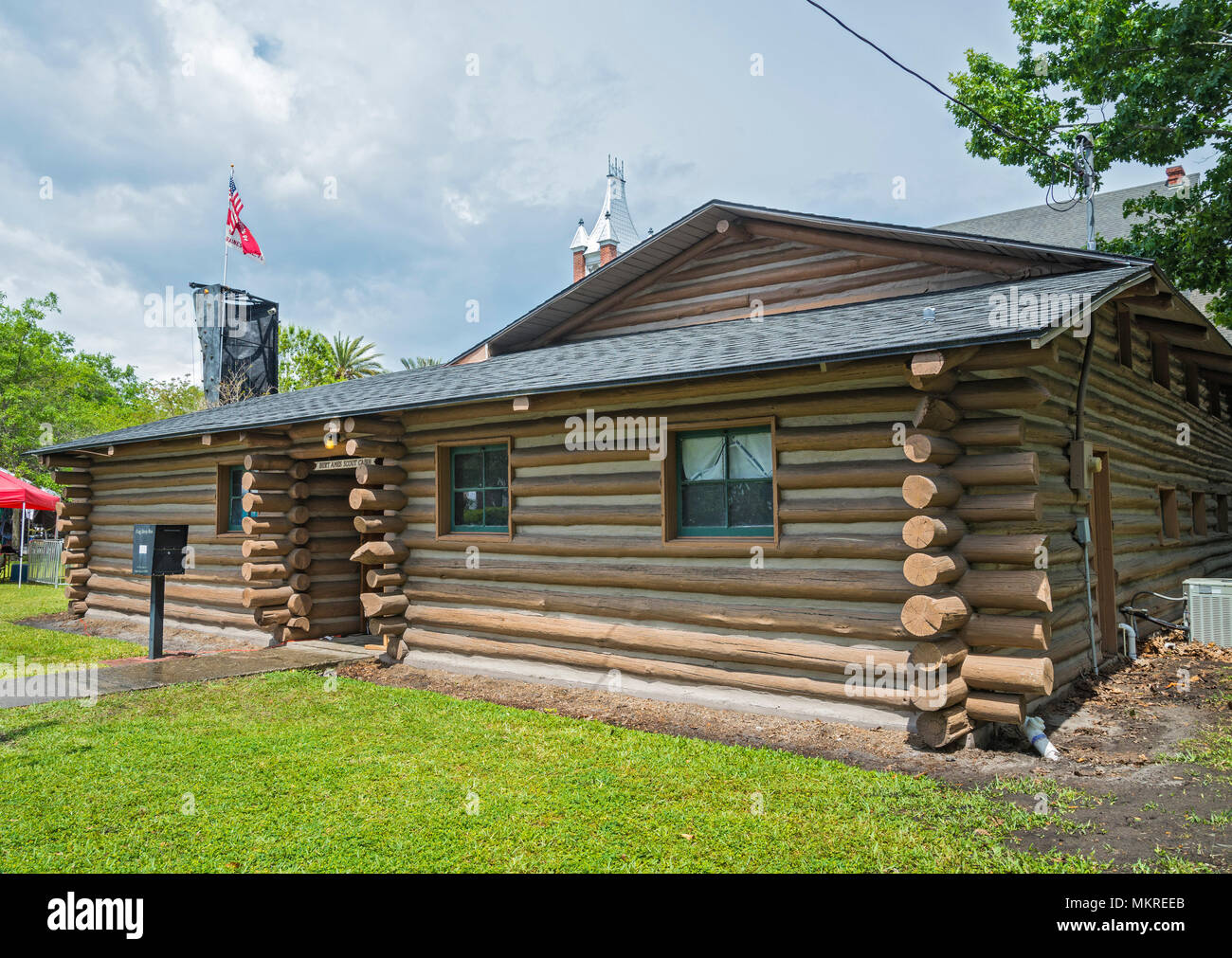 Burt Ames Scout Cabin is a log cabin meeting place for Boy Scout Troop 84, in Gainesville, Florida. - Stock Image
