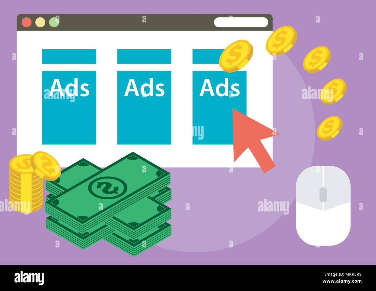 vector design of illustration website ads earn money - Stock Image