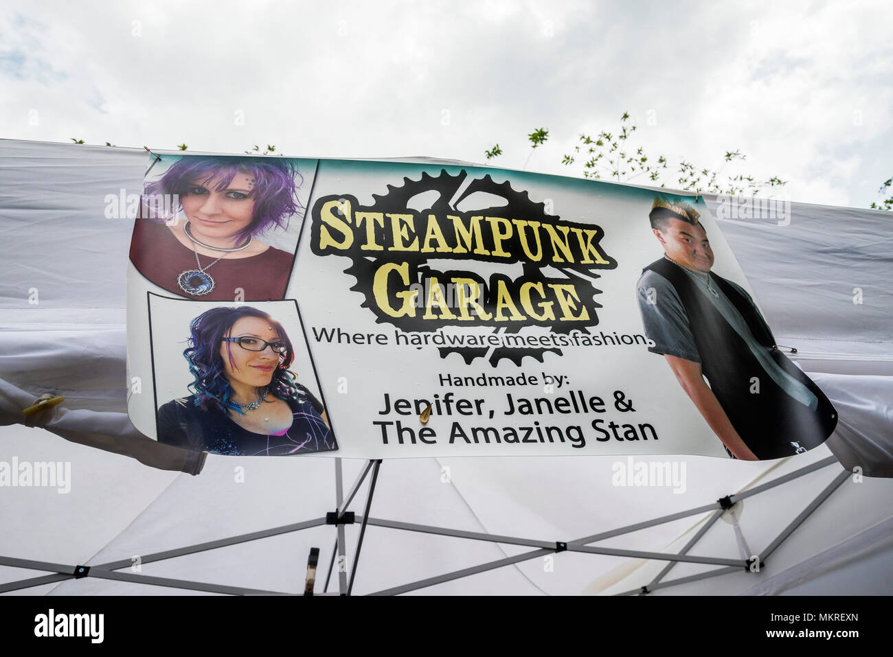 Spring Festival in Gainesville, Florida, features a variety of expression and experiences. Booth selling steampunk items and fashions. - Stock Image