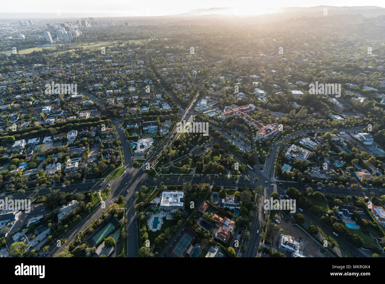 Beverly Hills, California, USA - April 18, 2017:  Afternoon aerial view of intersections near Will Rogers Memorial Park and the Beverly Hills Hotel. - Stock Image