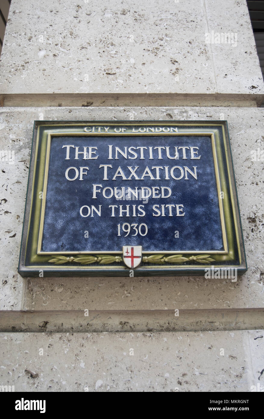 city of london blue plaque marking the site where in 1930 the institute of taxation was founded - Stock Image