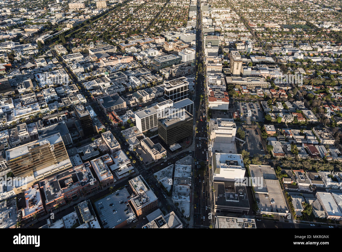 Beverly Hills, California, USA - April 18, 2018:  Afternoon aerial view of commercial buildings along Wilshire Blvd. - Stock Image