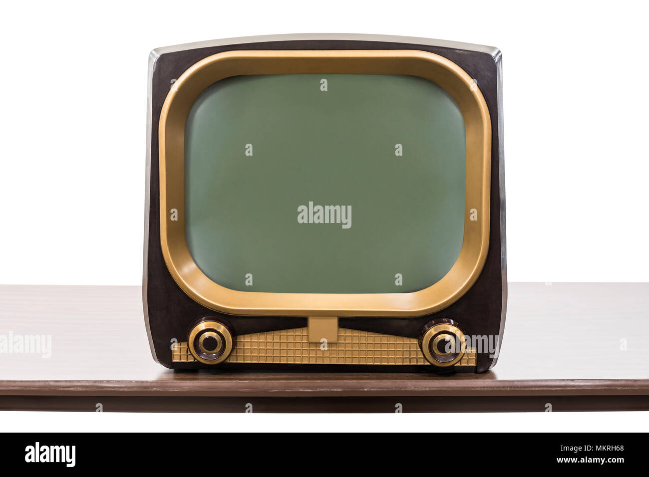 Vintage 1950s television on table isolated on white with clipping path. - Stock Image