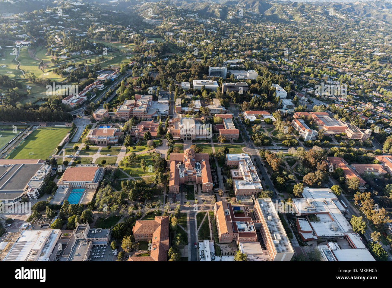 Los Angeles, California, USA - April 18, 2018:  Aerial view of UCLA campus and Westwood. - Stock Image