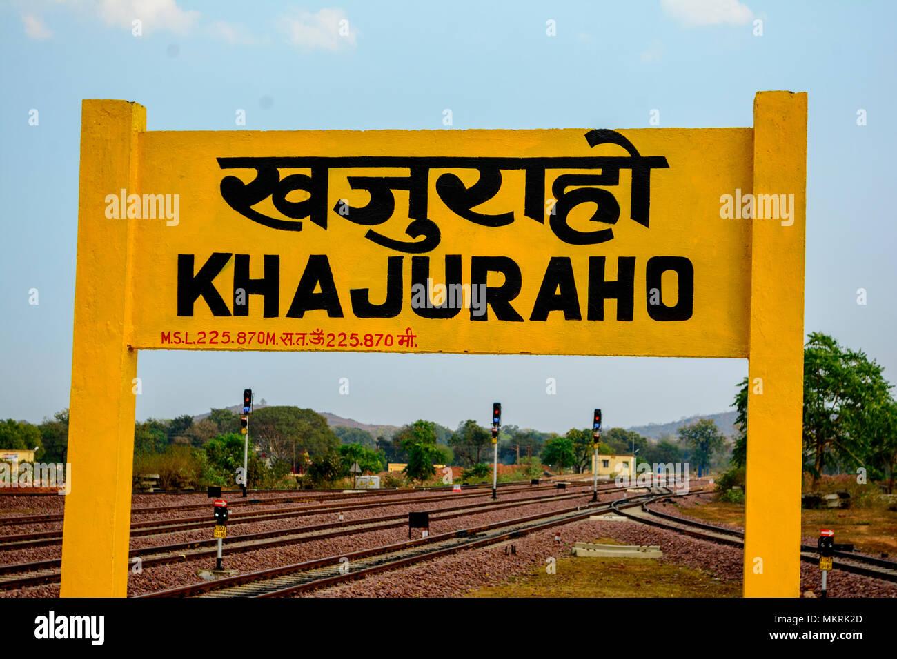 Khajuraho Sign board Madhyapradesh, India - Stock Image