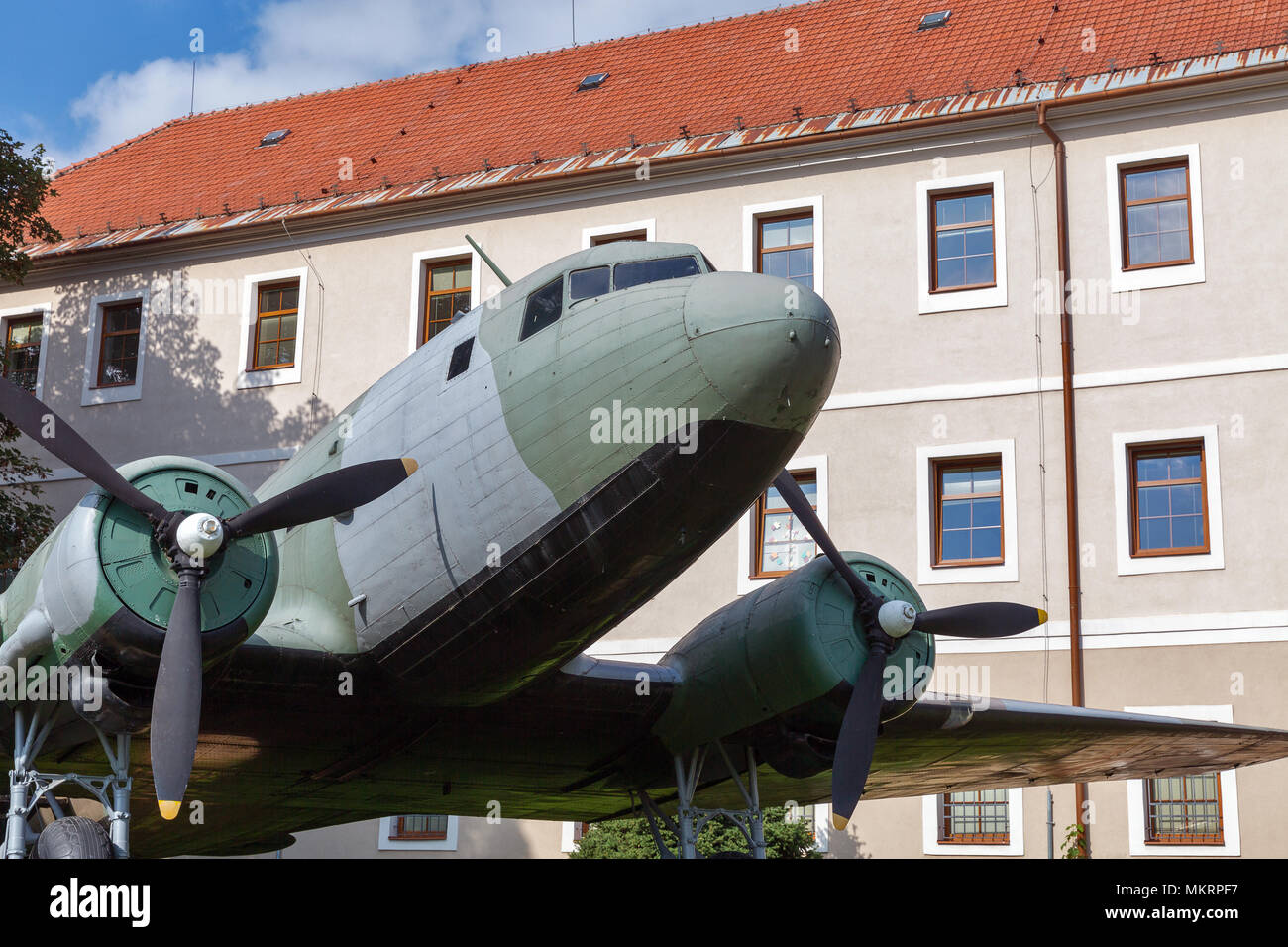 Airplane Li-2 at open air museum of SNP, military equipment from WW2 in Banska Bystrica, Slovakia - Stock Image