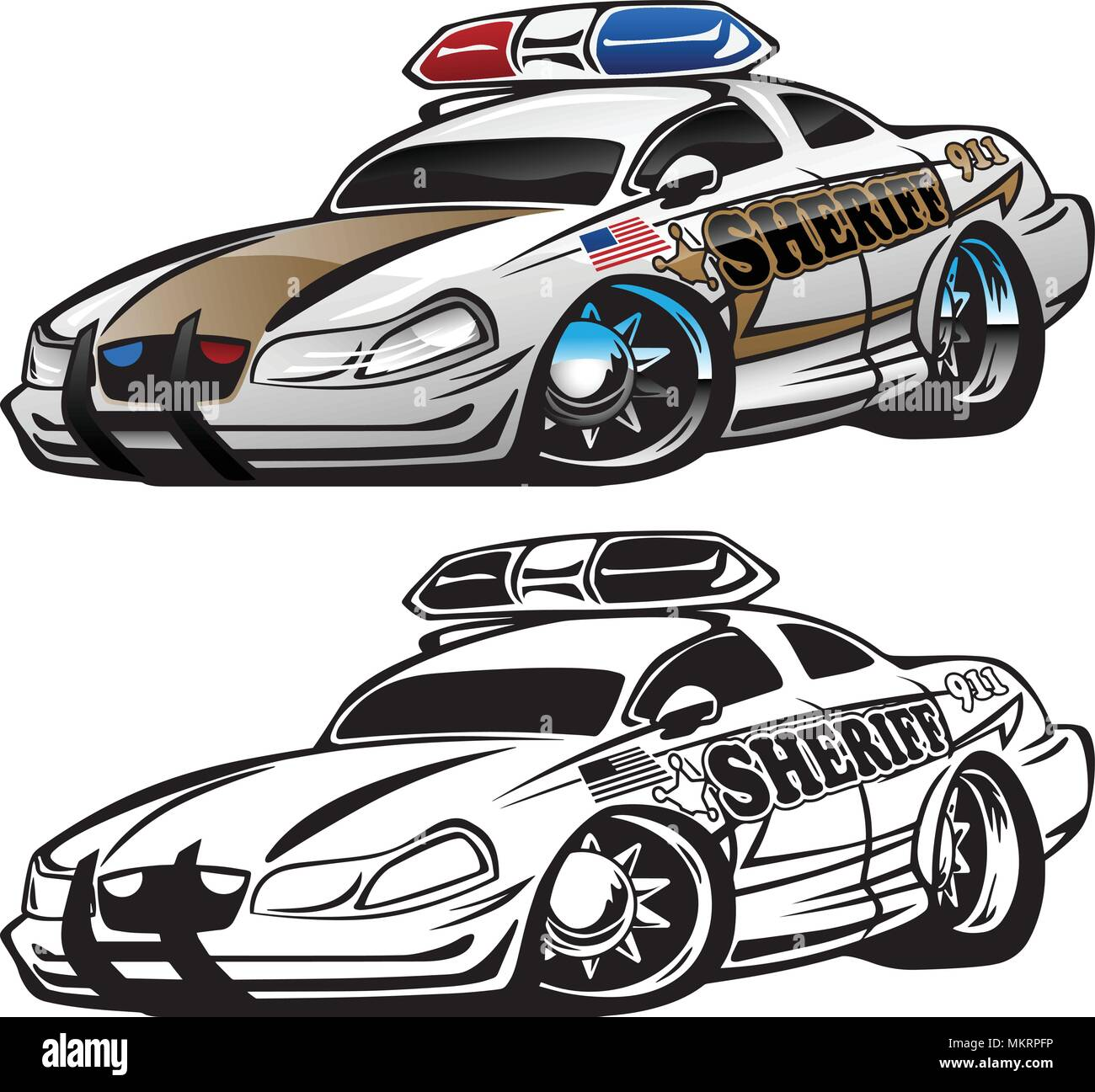 Sheriff Muscle Car Cartoon Vector Illustration Stock Vector Art