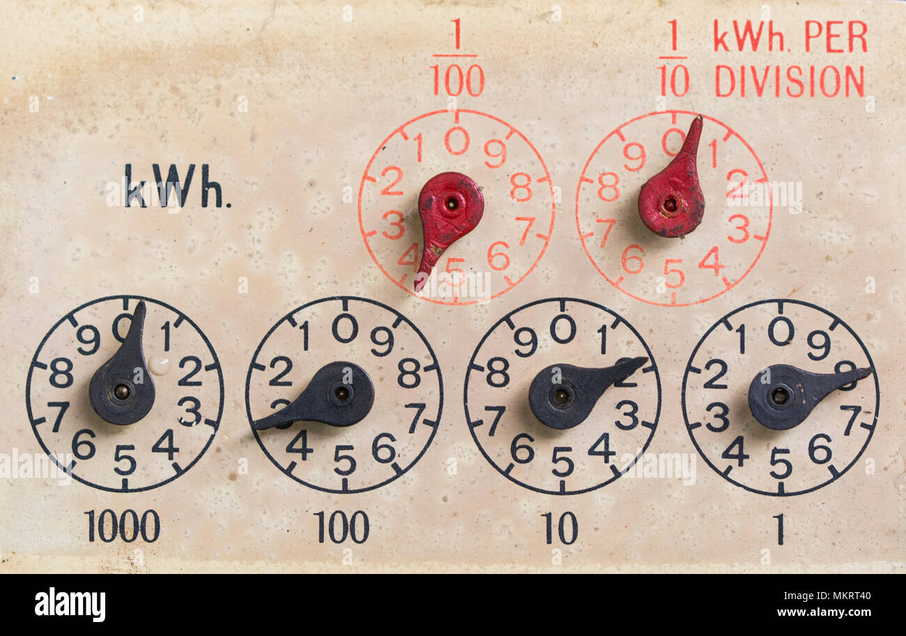 Dials on and old electricity meter - Stock Image