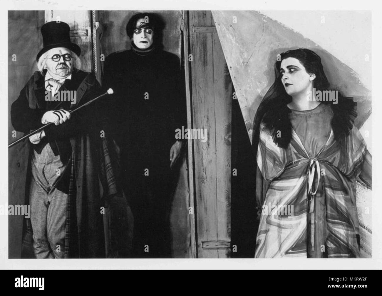 screenshot from a classic silent horror movie from the german expressionist era - Stock Image