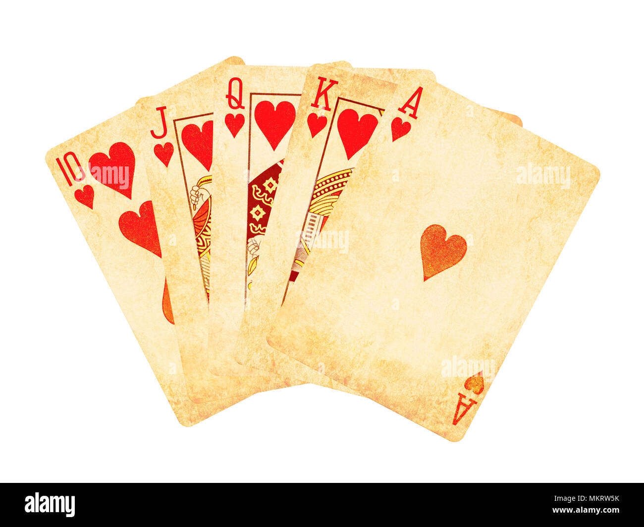 Vintage worn out hearts royal flush poker cards isolated on white - Stock Image