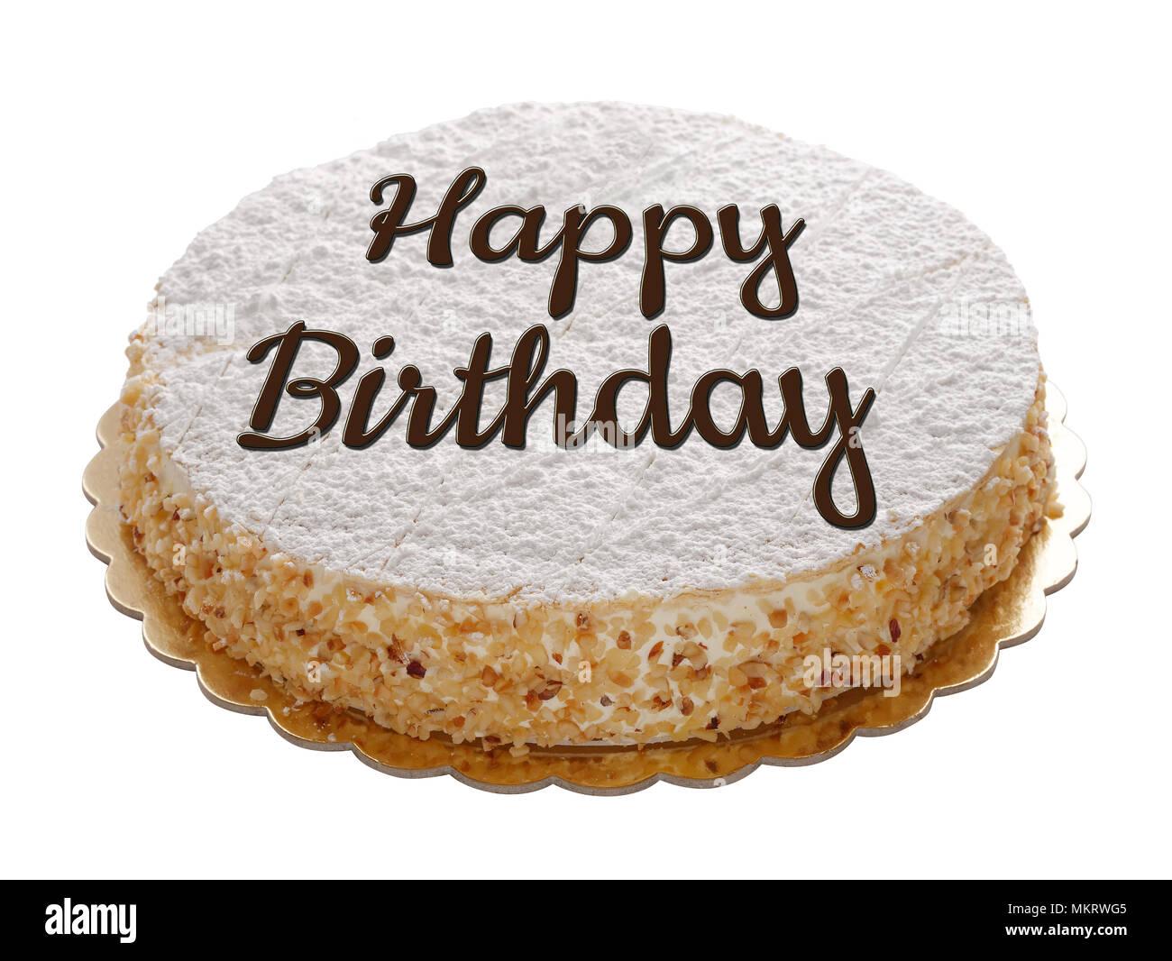 Happy Birthday Cake Isolated On White Stock Photo 184307093 Alamy