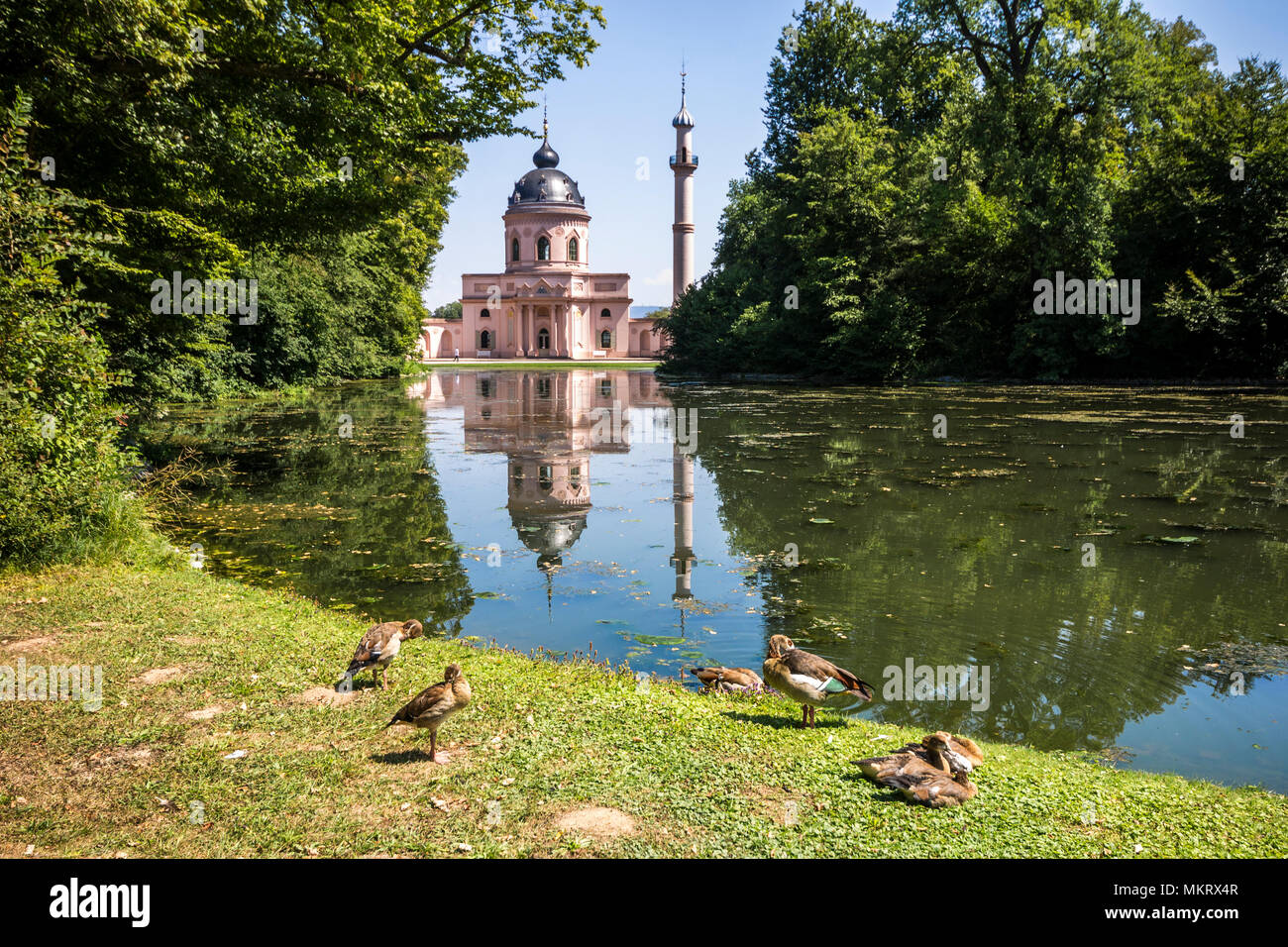 Schwetzingen, Germany. The Red Mosque (Rote Moschee) in the Schwetzingen Palace Gardens (Schwetzinger Schlossgarten) - Stock Image