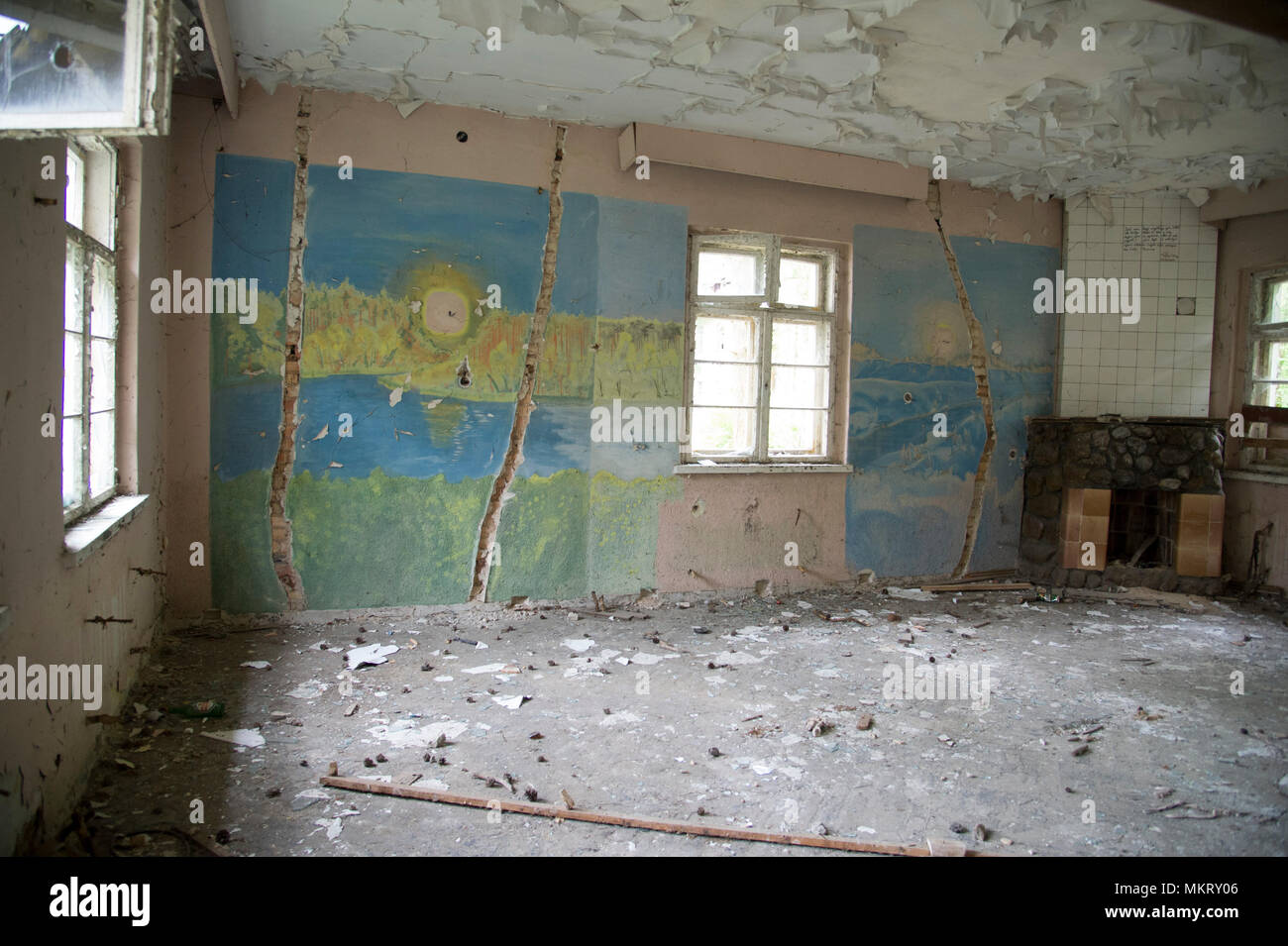 Ruined house in the former Nazi German military base, used from 1957 to 1993 by Soviet Union as military communication garrison of Northern Group of F - Stock Image