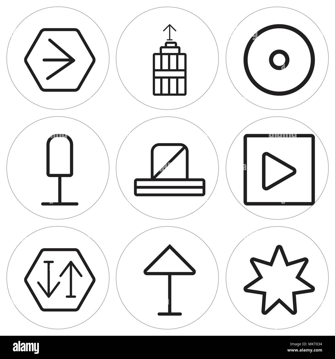 Set Of 9 Simple Editable Icons Such As Star Up Arrow Sort Play