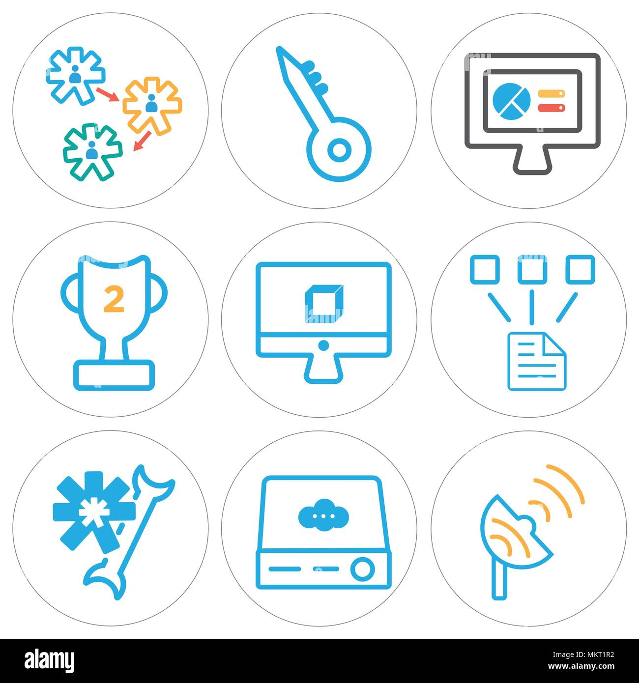 Set Of 9 Simple Editable Icons Such As Satellite Dish Server