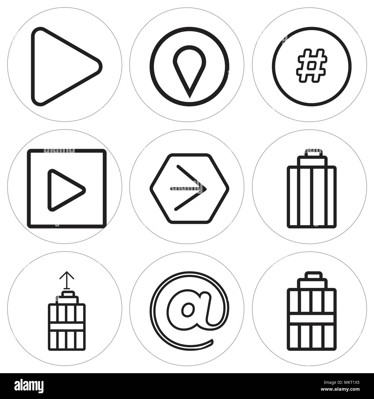 Set Of 9 Simple Editable Icons Such As Garbage At Youtube Play