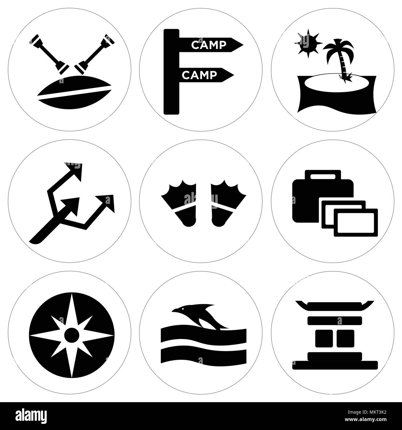 Set Of 9 simple editable icons such as Chinese temple, Sunset and Dolphin, Big Helm, Suitcase, Two Flippers, Small Trident, Beach Sunset, Camp, Canoe, - Stock Image