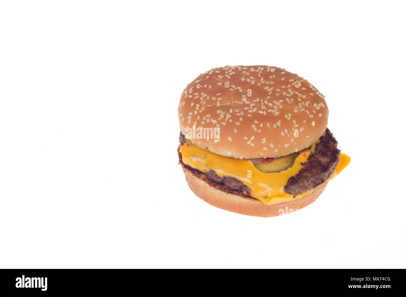 McDonald's new fresh beef quarter pounder with cheese cooked when ordered not frozen. McDonald's rolled out this fresh beef burger nationally in May 2 - Stock Image