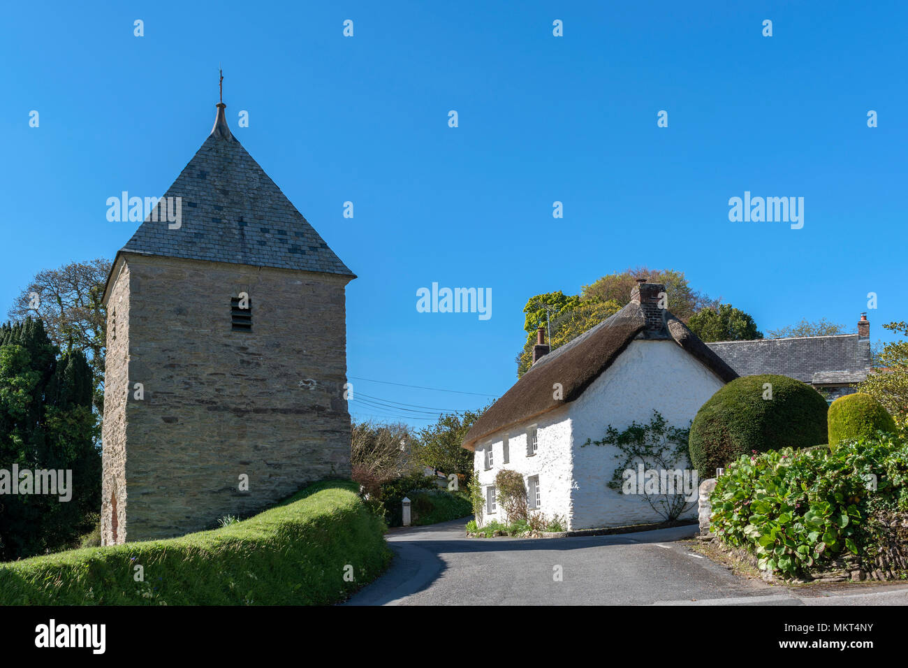 cottage, church, feock village, truro, cornwall, england, britain, uk - Stock Image